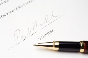 Photo of signed contract