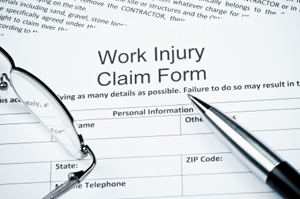 Photo of a workplace injury claim form